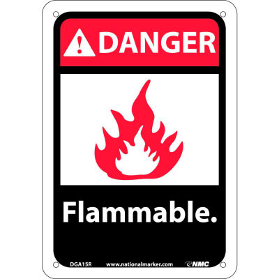 """Graphic Signs - Danger Flammable - Plastic 7""""W X 10""""H"""