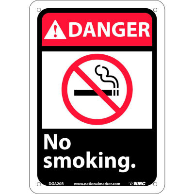 """Graphic Signs - Danger No Smoking - Plastic 7""""W X 10""""H"""