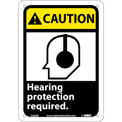 "Graphic Signs - Caution Hearing Protection - Plastic 7""W X 10""H"