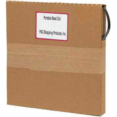 """Pac Strapping Portable Steel Strapping Coil In Self Dispensing Carton, 200'L x 1/2""""W x 0.020"""" Thick"""