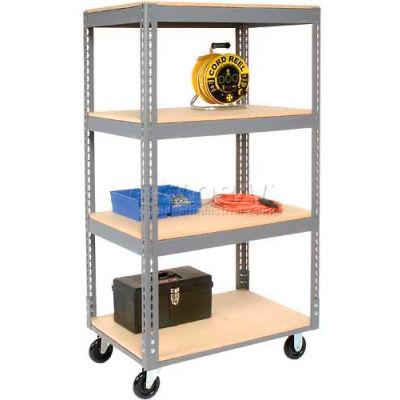 Global Industrial™ Easy Adjust Boltless 4 Shelf Truck 60x24, Wood Shelves, Polyurethane Casters