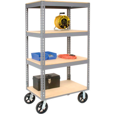 Easy Adjust Boltless 4 Shelf Truck 60 x 24 with Wood Shelves - Rubber Casters