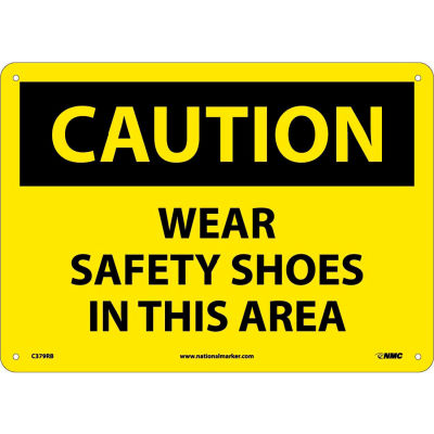 """Safety Signs - Caution Wear Safety Shoes - Rigid Plastic 10""""H X 14""""W"""