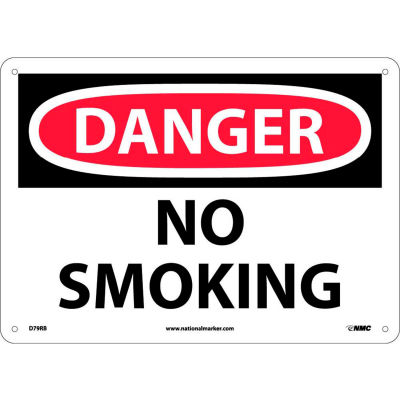 "Safety Signs - Danger No Smoking - Rigid Plastic 10""H X 14""W"