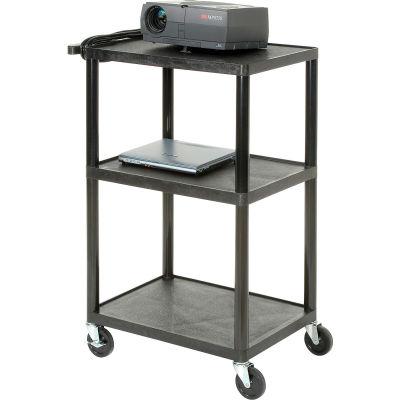 Plastic Audio Visual & Instrument Cart 24 x 18 x 34 Three Shelves