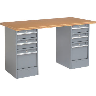 """Global Industrial™ 96""""W x 30""""D Pedestal Workbench - 6 Drawers, Shop Top Square Edge- Gray"""