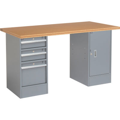 Global Industrial™ 96 x 30 Pedestal Workbench - 3 Drawers & Cabinet, Shop Top Square Edge Gray