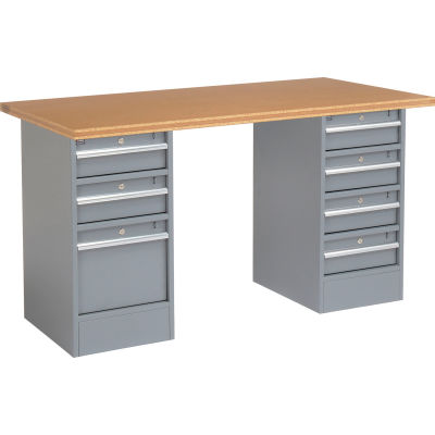 """Global Industrial™ 96""""W x 30""""D Pedestal Workbench - 7 Drawers, Shop Top Square Edge- Gray"""