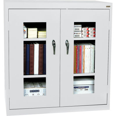 Sandusky Clear View  Counter Height Cabinet CA2V361842 - 36x18x42, Light Gray
