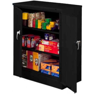 Tennsco Counter Height Metal Storage Cabinet 4218-BLK  - Welded 36x18x42 Black