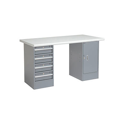 Global Industrial™ 72 x 30 Pedestal Workbench 4 Drawers & 1 Cabinet, Laminate Safety Edge Gray
