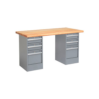 Global Industrial™ 60 x 30 Pedestal Workbench - 6 Drawers, Maple Block Safety Edge - Gray