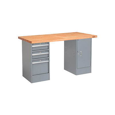 Global Industrial™ 72 x 30 Pedestal Workbench - 3 Drawers & Cabinet, Maple Square Edge - Gray