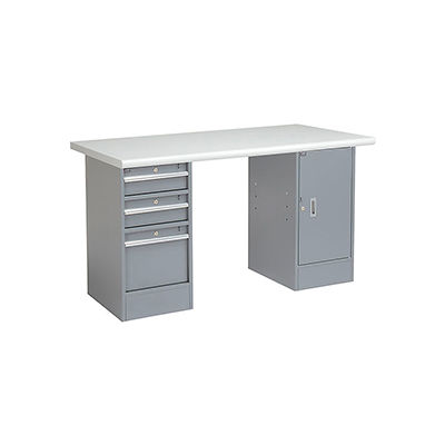 Global Industrial™ 60 x 30 Pedestal Workbench 3 Drawers & 1 Cabinet, Laminate Safety Edge Gray