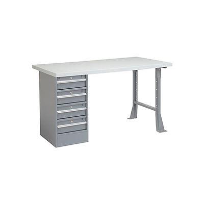 Global Industrial™ 72 x 30 Pedestal Workbench - 4 Drawers, Plastic Laminate Square Edge - Gray