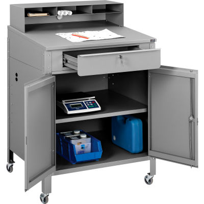 "Mobile Cabinet Shop Desk with Pigeonhole Compartment Riser 34-1/2""W x 30""D x 51-1/2""H - Gray"