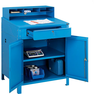 "Global Industrial™ Cabinet Shop Desk with Pigeonhole Riser 34-1/2""W x 30""D x 51-1/2""H - Blue"