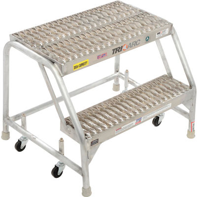 """2 Step Aluminum Rolling Ladder, 24""""W Grip Step, W/O Handrails - WLAR002245"""