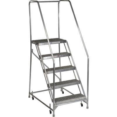 "5 Step Aluminum Rolling Ladder, 24""W Grip Step, 30"" Handrails - WLAR105245"