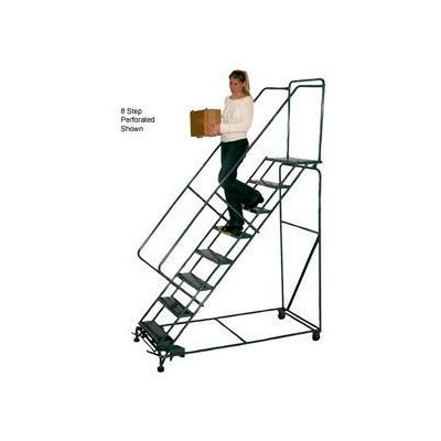 """8 Step 24""""W Steel Safety Angle Rolling Ladder W/ Handrails - Perforated Tread"""