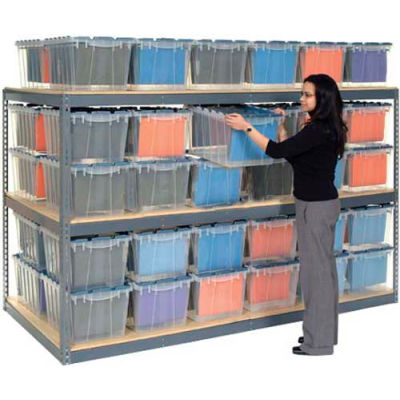 "Global Industrial™ Record Storage Rack 72""W x 48""D x 60""H With Polyethylene File Boxes - Gray"