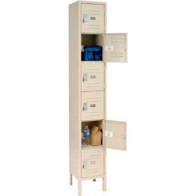 """Global Industrial™ Paramount® Six Tier 6 Door Locker, 12""""Wx15""""Dx12""""H, Tan, Unassembled"""
