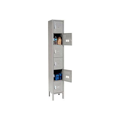 """Global Industrial™ Paramount® Six Tier 6 Door Locker, 12""""Wx12""""Dx12""""H, Gray, Unassembled"""