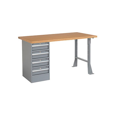 """Global Industrial™ 60""""W x 30""""D Pedestal Workbench - 4 Drawers, Shop Top Square Edge - Gray"""
