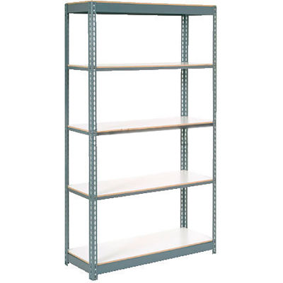 """Global Industrial™ Heavy Duty Tan Shelving 36""""Wx18""""Dx84""""H With 5 Shelves, Laminate Deck, Gray"""