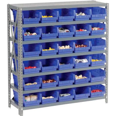 "Global Industrial™ Steel Shelving with 30 4""H Plastic Shelf Bins Blue, 36x12x39-7 Shelves"