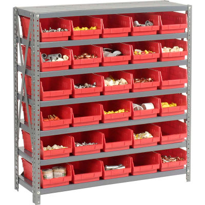 "Global Industrial™ Steel Shelving with 30 4""H Plastic Shelf Bins Red, 36x12x39-7 Shelves"