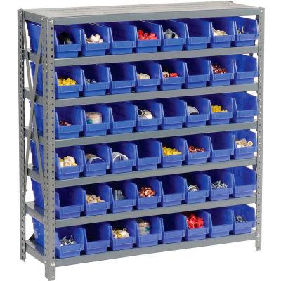 "Global Industrial™ Steel Shelving with 48 4""H Plastic Shelf Bins Blue, 36x12x39-7 Shelves"