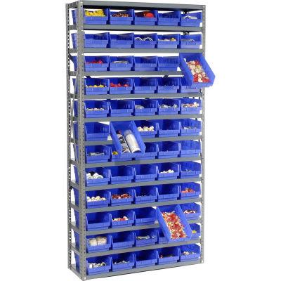 "Global Industrial™ Steel Shelving with 60 4""H Plastic Shelf Bins Blue, 36x12x73-13 Shelves"