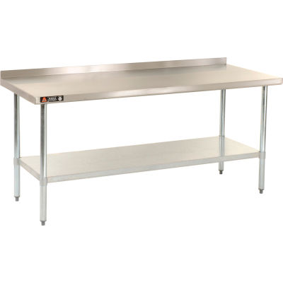 "Aero Manufacturing IAS-3096 18 Gauge Workbench 430 Stainless Steel - 2-1/4"" Backsplash 96""W x 30""D"