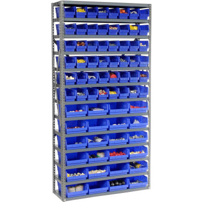"Global Industrial™ Steel Shelving - Total 72 4""H Plastic Shelf Bins Blue, 36x12x72-13 Shelves"