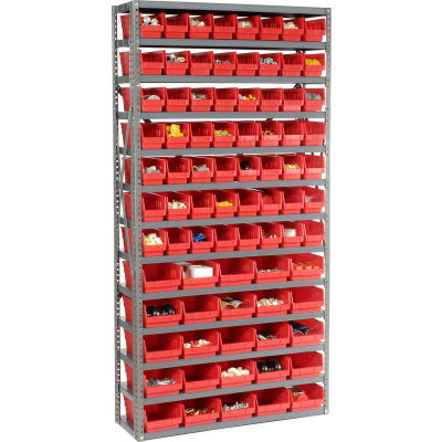 "Global Industrial™ Steel Shelving - Total 81 4""H Plastic Shelf Bins Red, 36x12x72-13 Shelves"