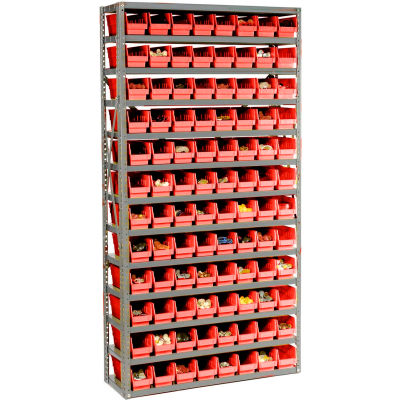 "Global Industrial™ Steel Shelving with 96 4""H Plastic Shelf Bins Red, 36x12x72-13 Shelves"