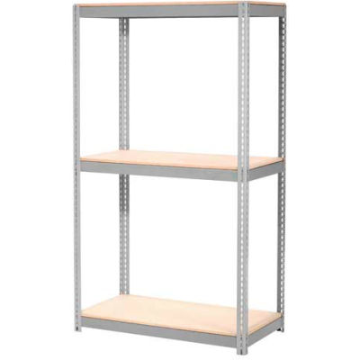 Global Industrial™ Expandable Starter Rack 96x24x84 3 Level Wood Deck 800 lb. Cap Per Level GRY