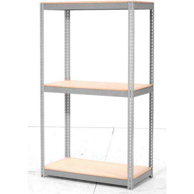 Global Industrial™ Expandable Starter Rack 96x48x84 3 Level Wood Deck 1100 lb. Cap Per Deck GRY