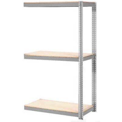Global Industrial™ Expandable Add-On Rack 36x12x84 3 Level Wood Deck 1500 lb. Cap Per Level GRY