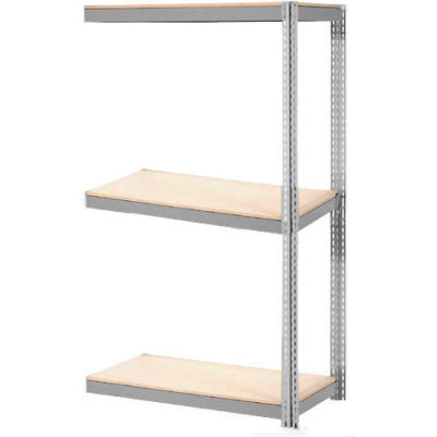 Global Industrial™ Expandable Add-On Rack 48x18x84 3 Level Wood Deck 1500 lb. Cap Per Level GRY