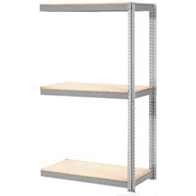 Global Industrial™ Expandable Add-On Rack 48x24x84 3 Level Wood Deck 1500 lb. Cap Per Level GRY