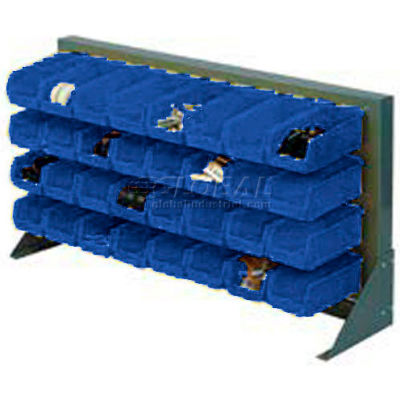 """Louvered Bench Rack 36""""W x 20""""H With 22 of Blue Premium Stacking Bins"""