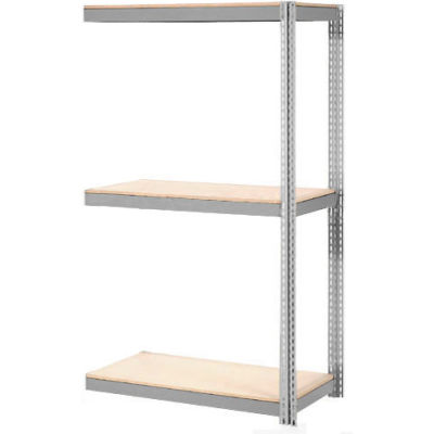 Global Industrial™ Expandable Add-On Rack 96x36x84 3 Level Wood Deck 800 lb. Cap Per Level GRY