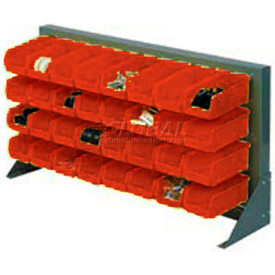 """Global Industrial™ Louvered Bench Rack 36""""W x 20""""H - 22 of Red Premium Stacking Bins"""