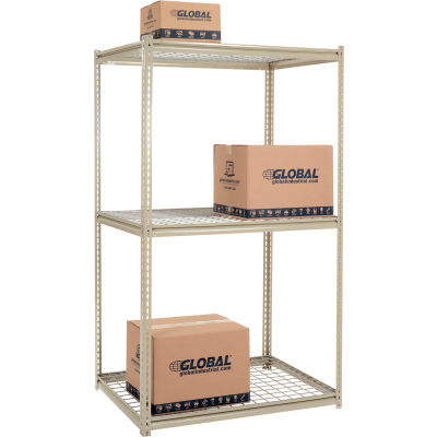 Global Industrial™ High Capacity Starter Rack 48x24x96:3 Levels Wire Deck 1500lb Per Shelf Tan
