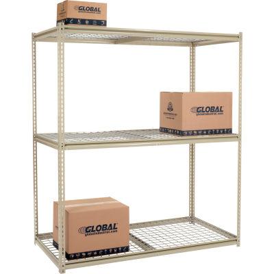 Global Industrial™ High Capacity Starter Rack 72x24x963 Levels Wire Deck 1000lb Per Shelf Tan