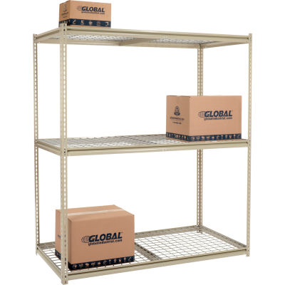 Global Industrial™ High Capacity Starter Rack 72x36x963 Levels Wire Deck 1000lb Per Shelf Tan