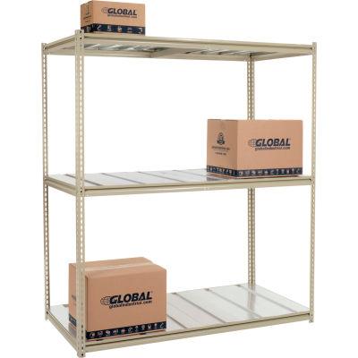 Global Industrial™ High Cap. Starter Rack 72Wx48Dx96H 3 Levels Steel Deck 1000lb Per Shelf Tan