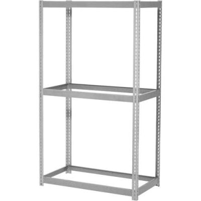 Global Industrial™ Expandable Starter Rack 96Wx24Dx84H, 3 Levels No Deck 1100lb Per Level, Gray